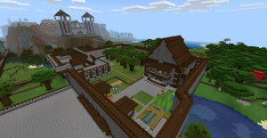 A house and castle built in Minecraft