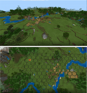 side-by-side image of minecraft hexagons